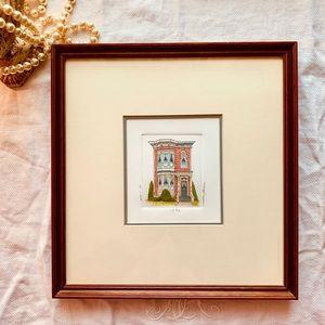 Martha Hinson Victorian house signed framed print